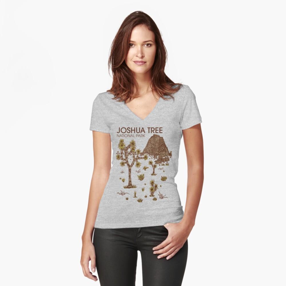 Joshua-Baum-Nationalpark Tailliertes T-Shirt mit V-Ausschnitt