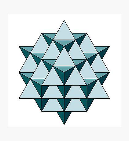 64 Tetrahedron - Cool Blues Photographic Print