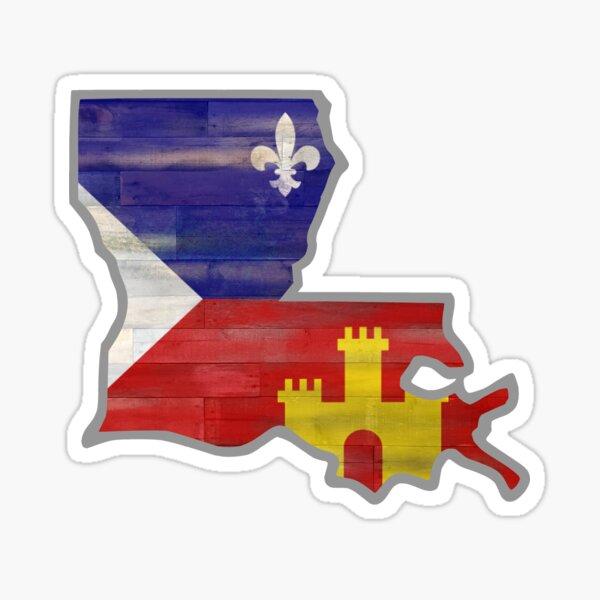 Louisiana With Acadiana Flag  Sticker