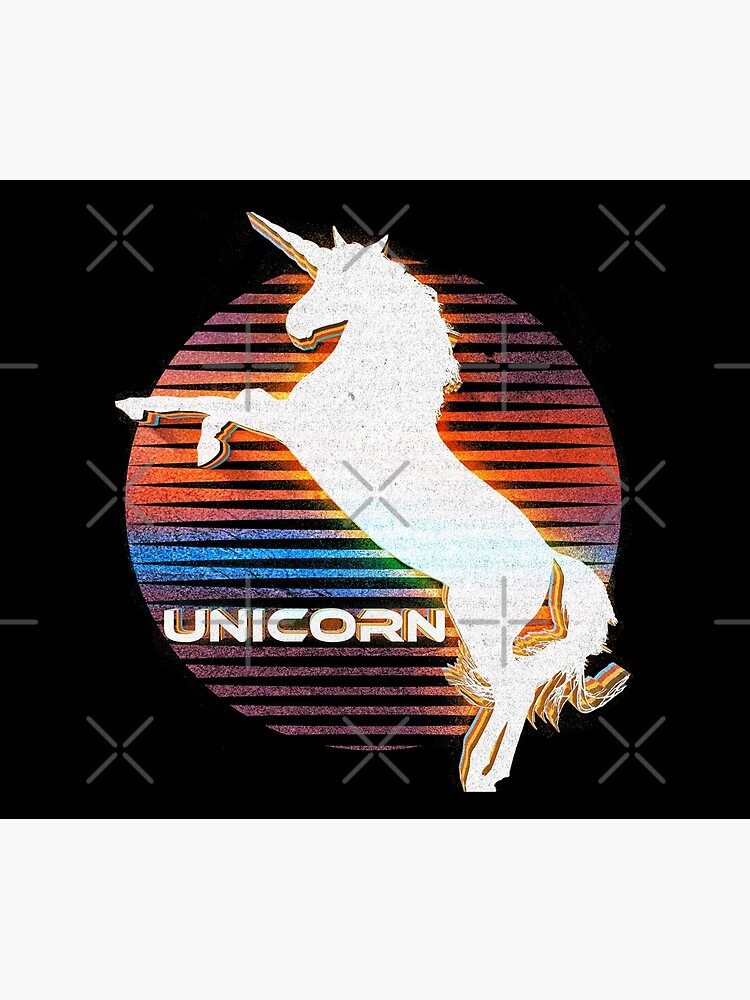 Unicorn Black Grey White Retro Galaxy Unicorn Graphic Logo  by thespottydogg
