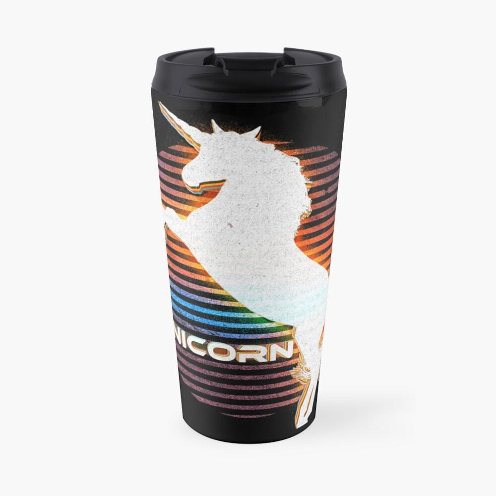 Unicorn Black Grey White Retro Galaxy Unicorn Graphic Logo  Travel Mug