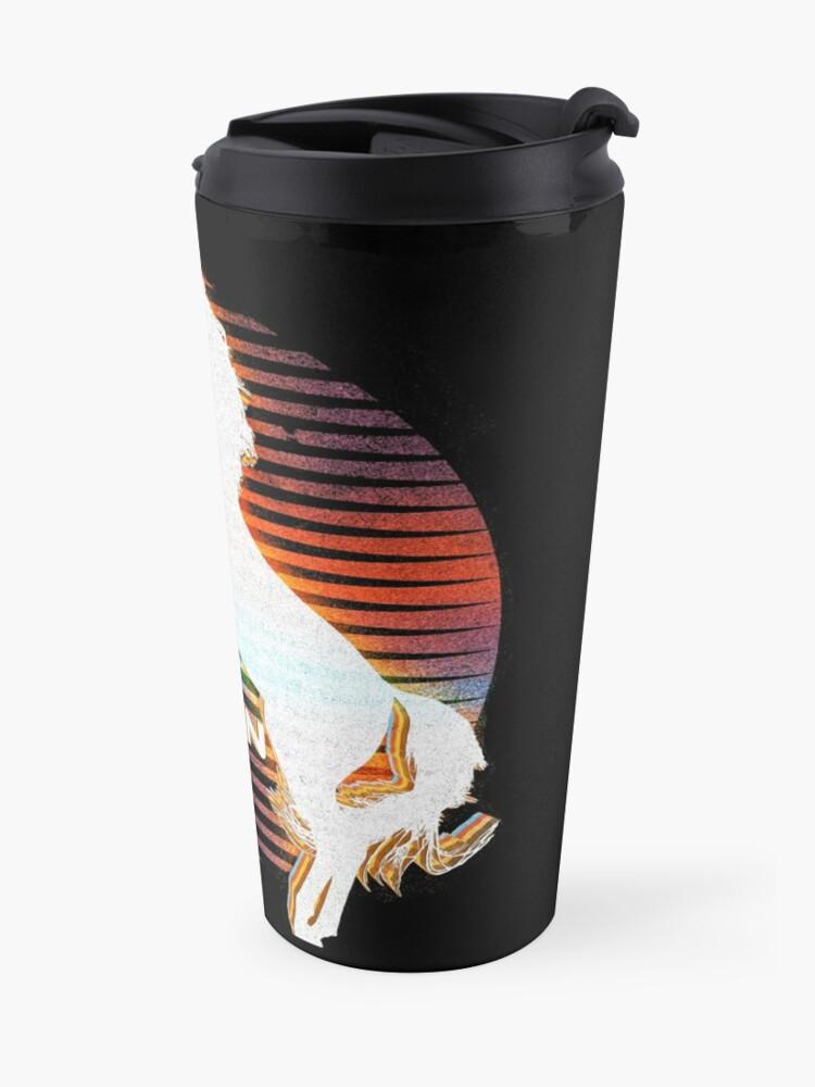 Alternate view of Unicorn Black Grey White Retro Galaxy Unicorn Graphic Logo  Travel Mug