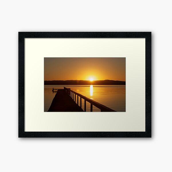 Sunset over Tuggerah Lakes - Long Jetty Framed Art Print
