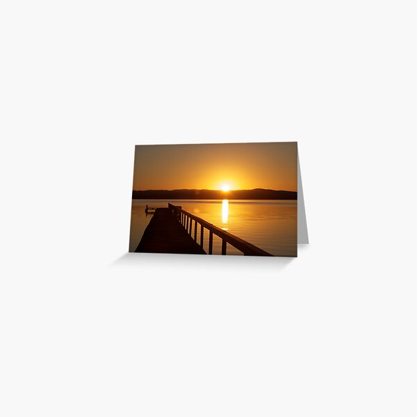 Sunset over Tuggerah Lakes - Long Jetty Greeting Card