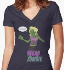 Lady Vegan Zombie Women's Fitted V-Neck T-Shirt