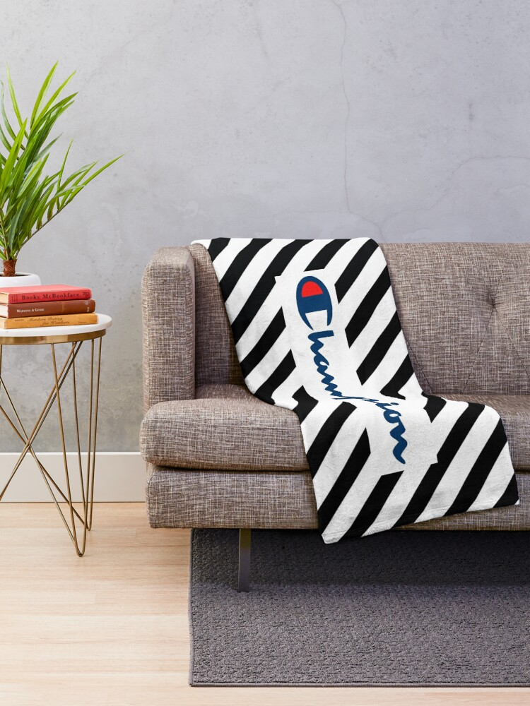 Awesome Black White Stripes X Champion Collaboration Throw Blanket Creativecarmelina Interior Chair Design Creativecarmelinacom