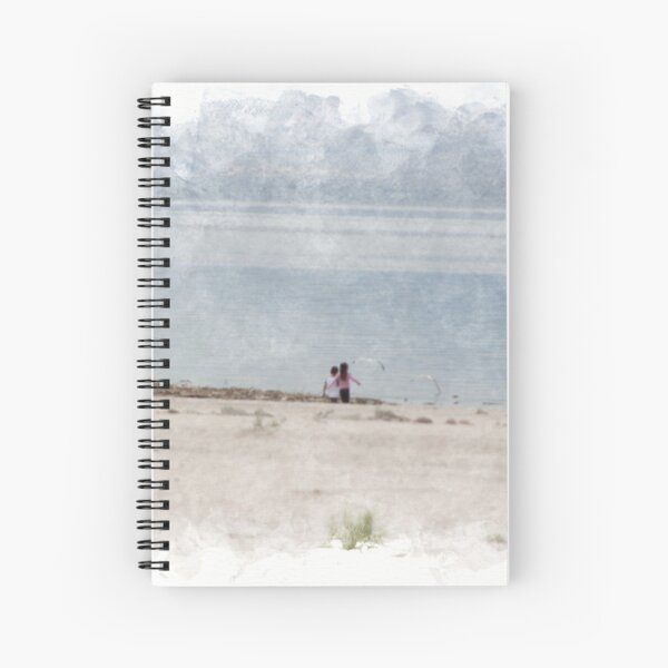 Chasing Seagulls at The Salton Sea in Digital Watercolor Spiral Notebook
