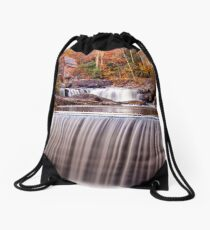 Glade Creek Grist Mill in Autumn and Waterfalls,Vertical Drawstring Bag