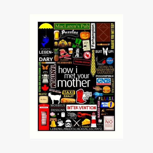 How i Met Your Mother Collage Poster Iconographic - Infographic Art Print