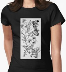 Traditional Black & White Zentangle Womens Fitted T-Shirt