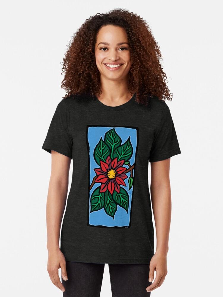 Alternate view of Red Flower Tri-blend T-Shirt