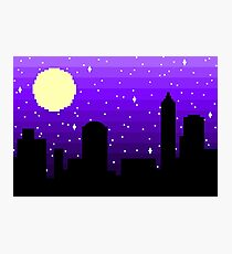 Pixel Nighttime Cityscape Photographic Print
