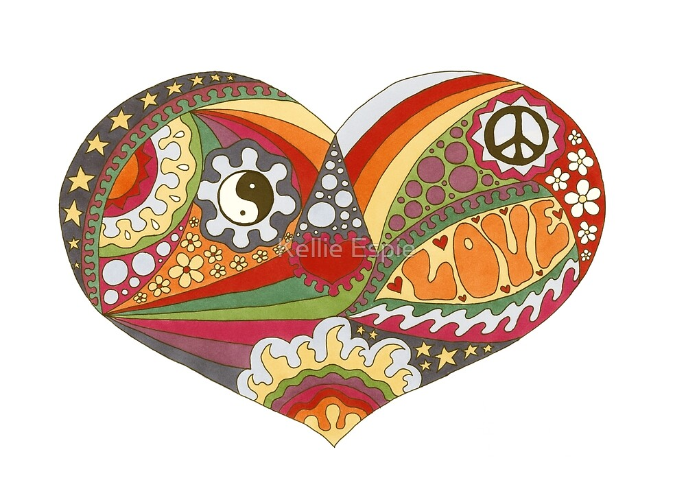 Vintage Psychedelic Heart by Kellie Espie