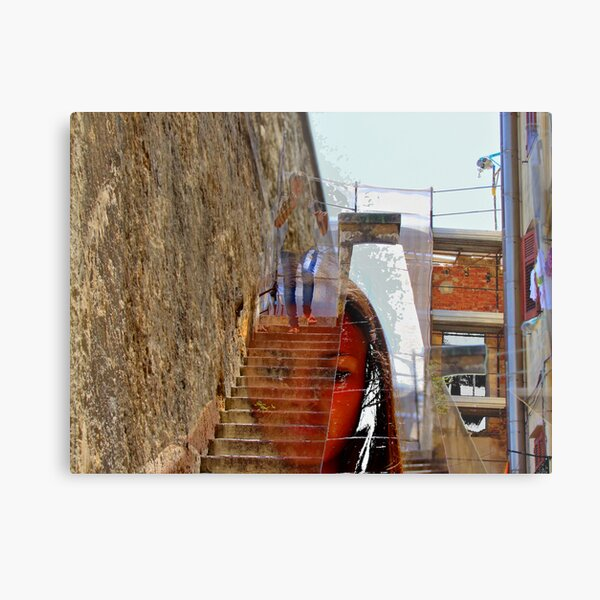 the girl comes down from town-walls  Metal Print