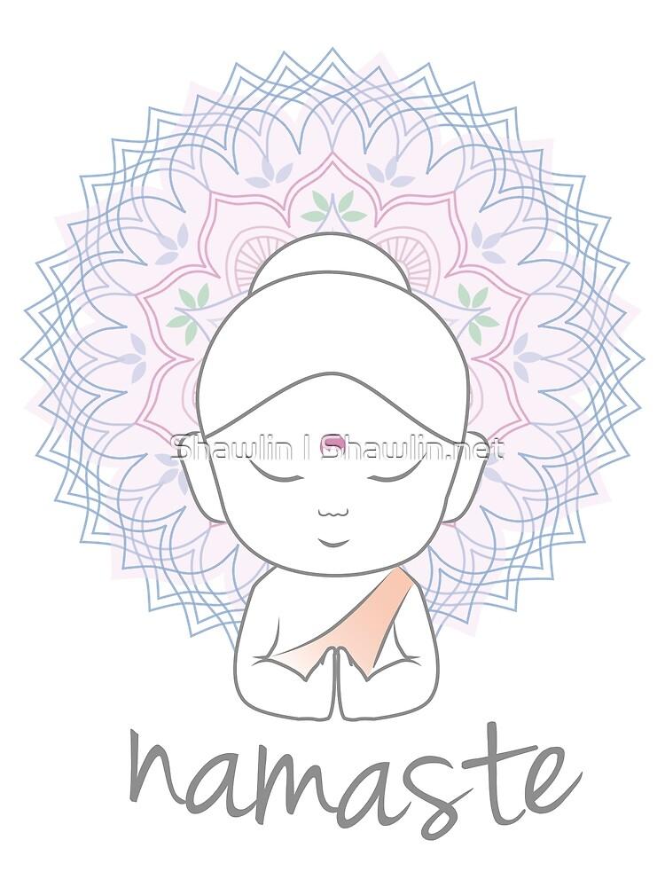 """Niedlicher Buddha sendet Grüße Das Wort """"Namaste"""" ist ein respektvoller Gruß, der auch """"Namaskar"""" genannt wird. von amelislam"""