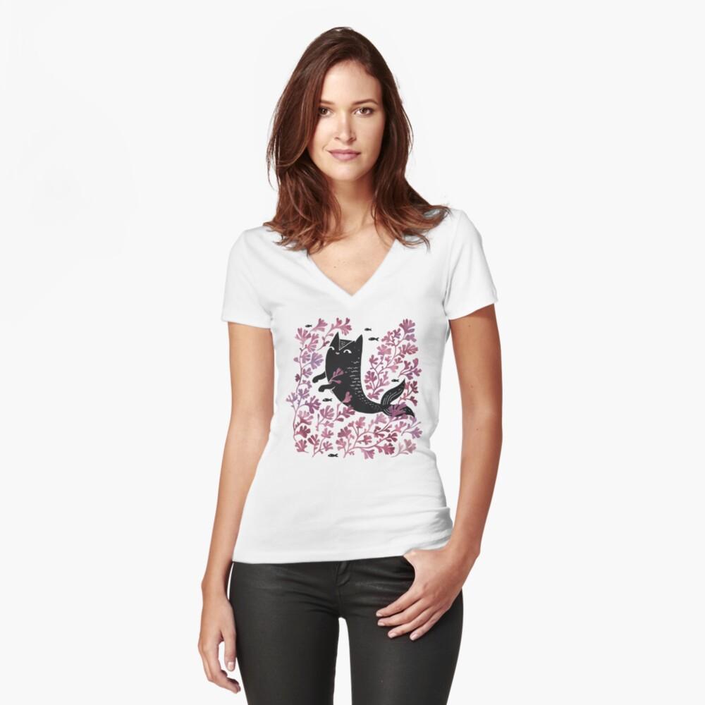 Unterseeisch Tailliertes T-Shirt mit V-Ausschnitt