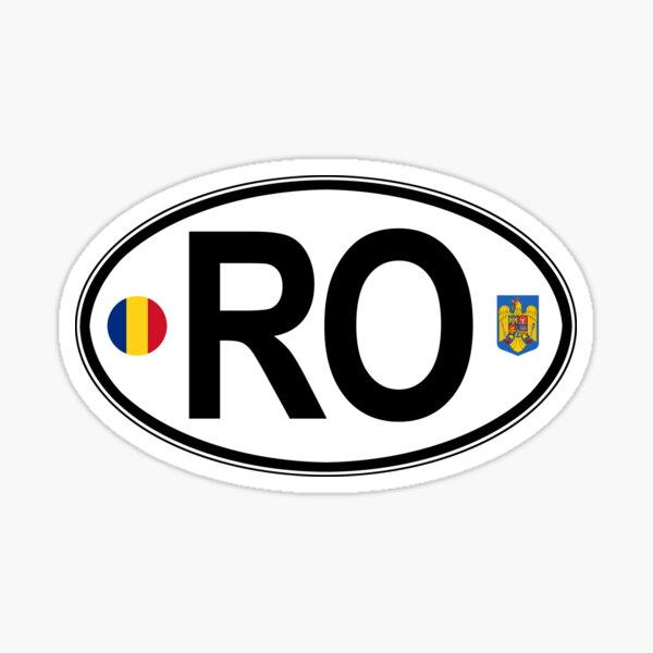 Romania Oval Country Code Decal Sticker