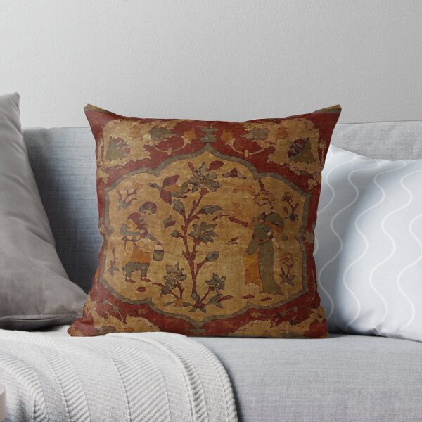 Hunting scene - antique Persian carpet fragment Throw Pillow