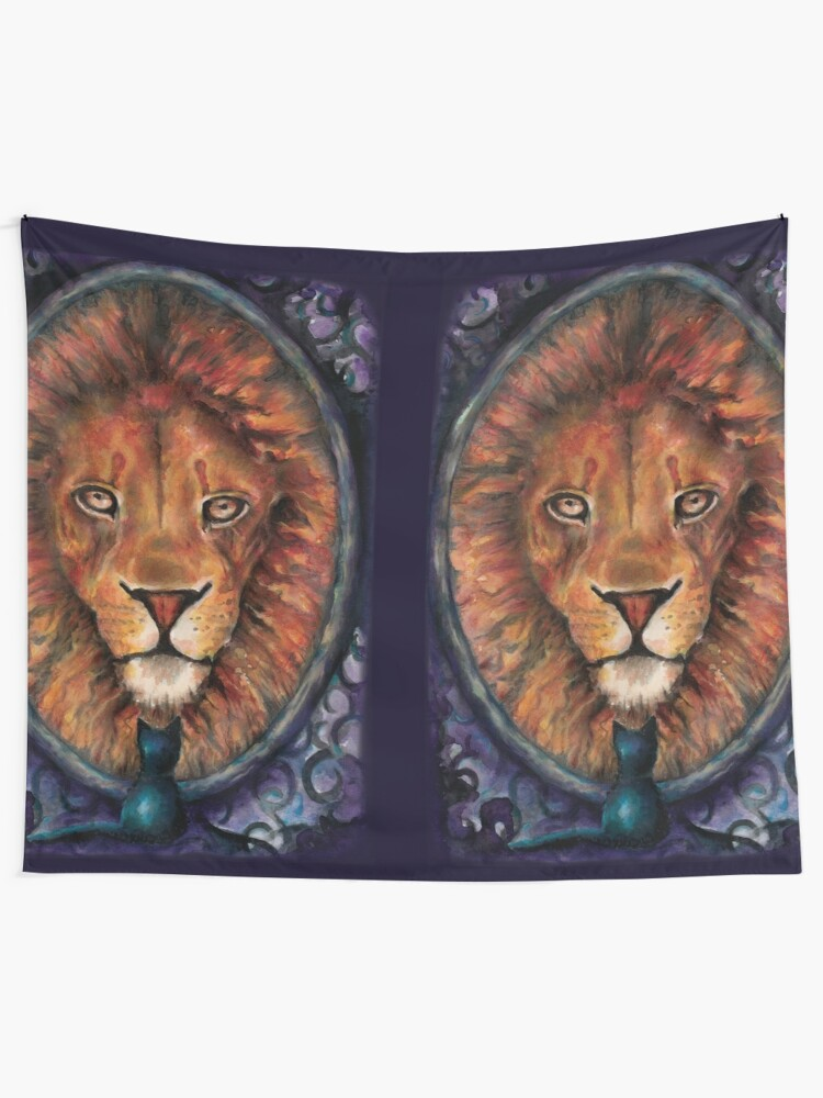 Alternate view of A Lion is the True Nature of a Cat Tapestry