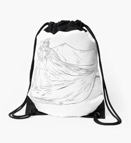 Lady Ink drawing Met 2019 Pink Dress Drawstring Bag