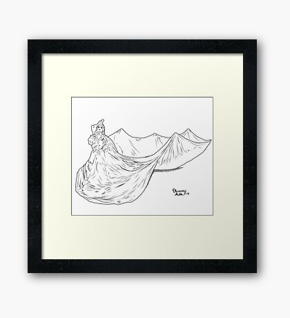 Lady Ink drawing Met 2019 Pink Dress Framed Print