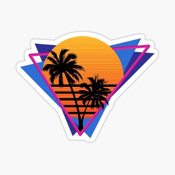 80s Inspired Synthwave Sun Design Sticker