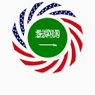 Saudi Arabian American Multinational Patriot Flag Series by Carbon-Fibre Media