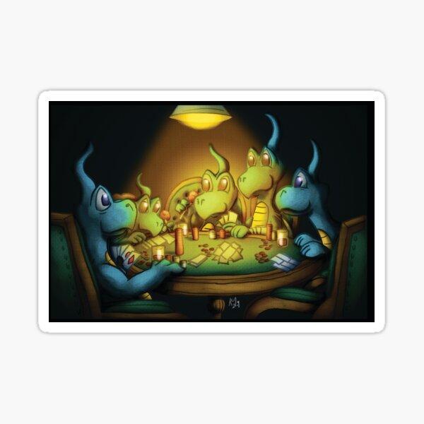 Dragons Playing Poker Sticker