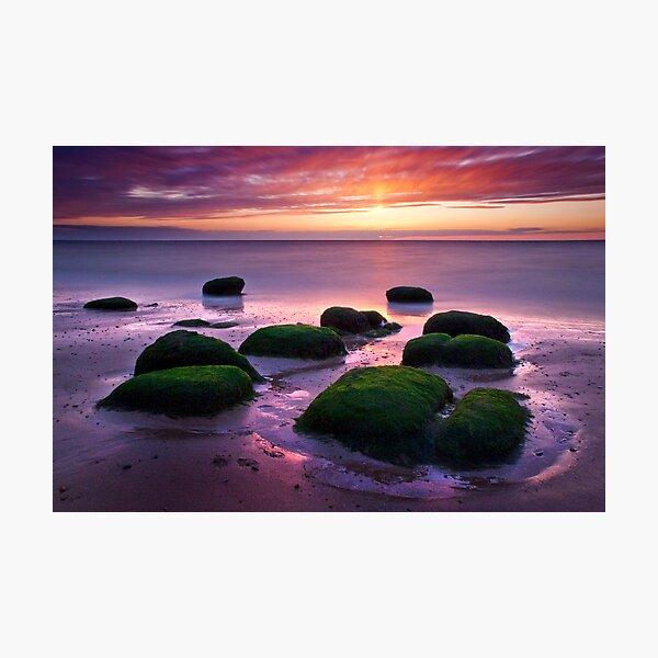 Green Boulders at Sunset, Hunstanton, Norfolk Photographic Print