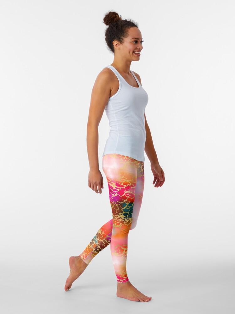 Alternate view of Hot gold color fancy Leggings