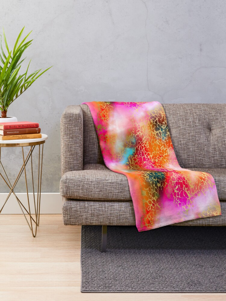 Alternate view of Hot gold color fancy Throw Blanket
