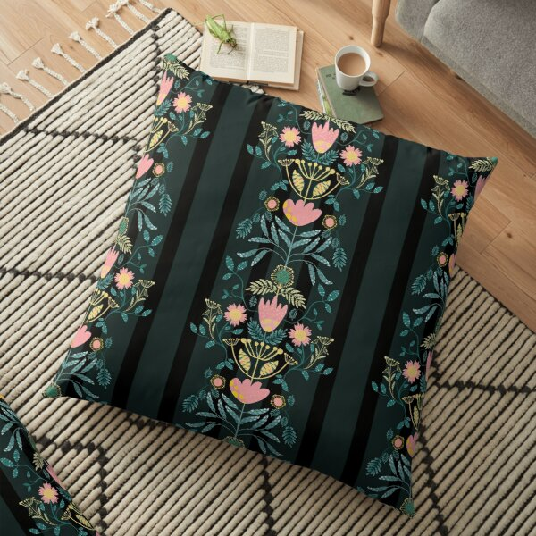 Maayo Folk Florals and Stripes Floor Pillow