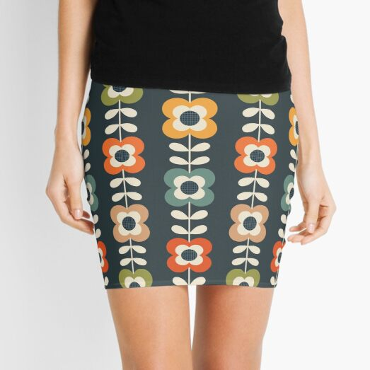 Mod Flowers in Retro Colors on Charcoal Mini Skirt