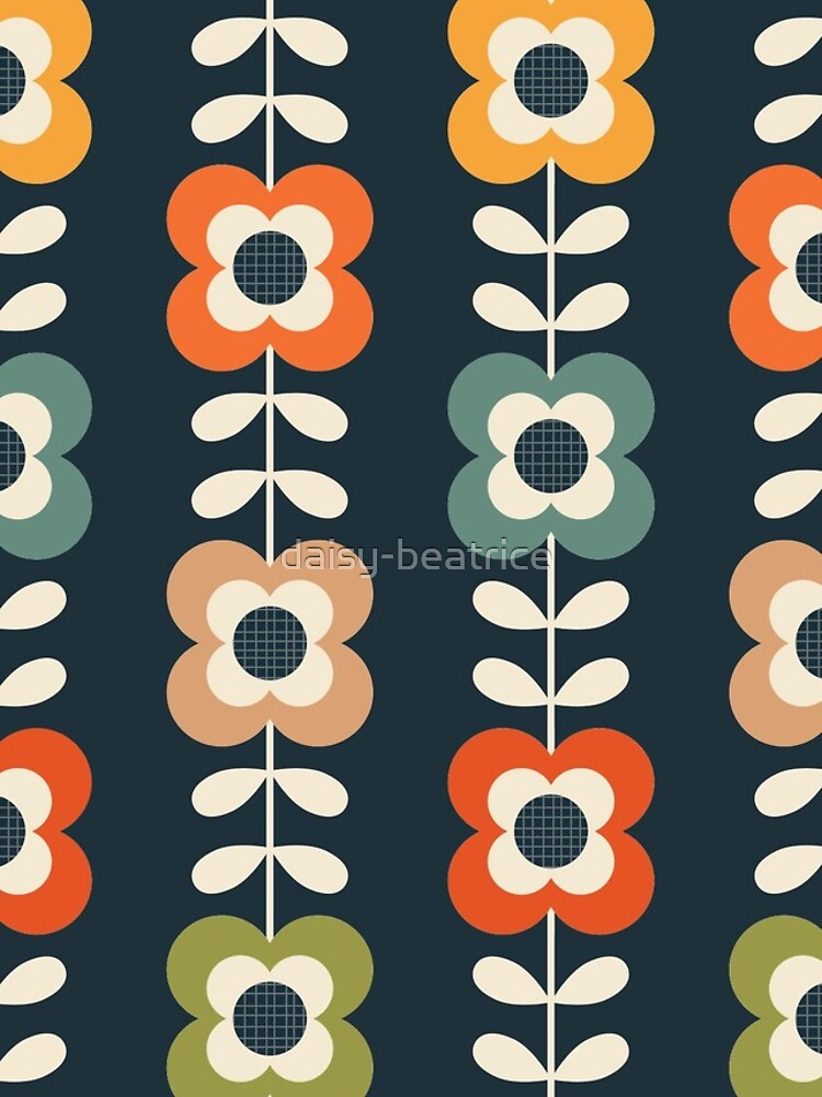 Mod Flowers in Retro Colors on Charcoal by daisy-beatrice