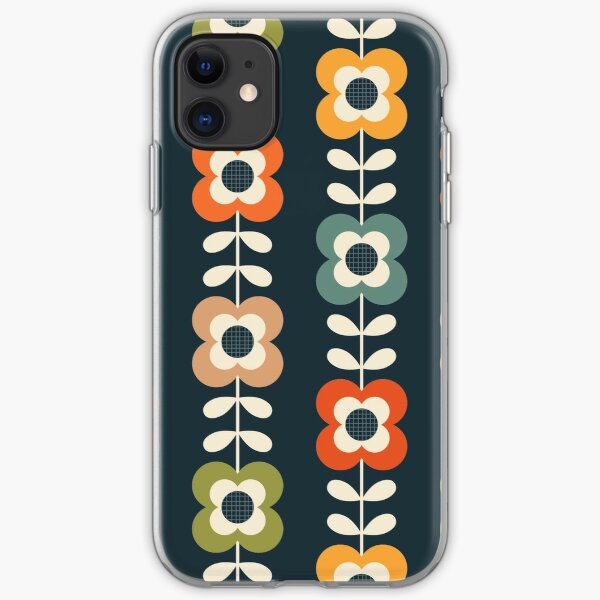 Mod Flowers in Retro Colors on Charcoal iPhone Soft Case