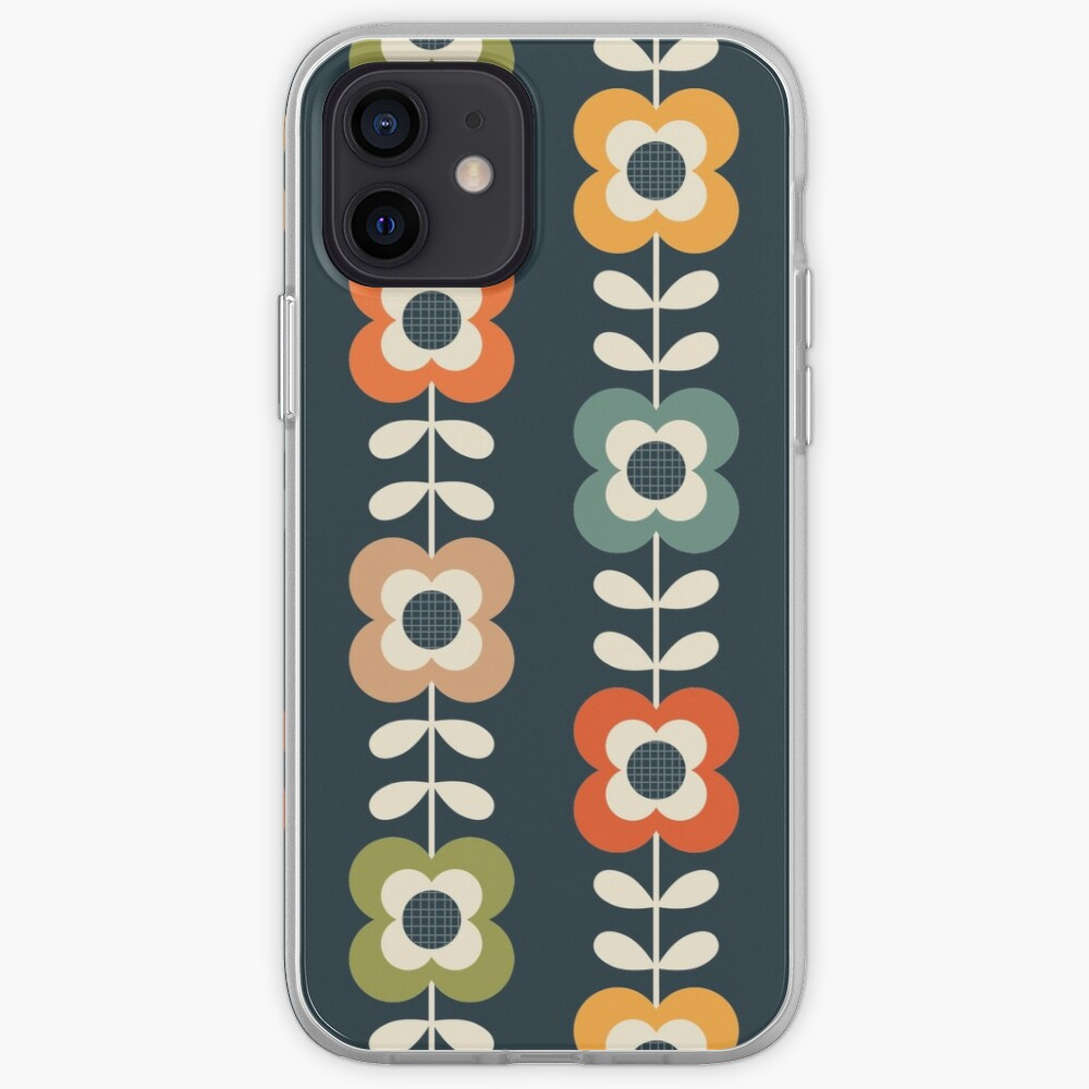 Mod Flowers in Retro Colors on Charcoal iPhone Case & Cover