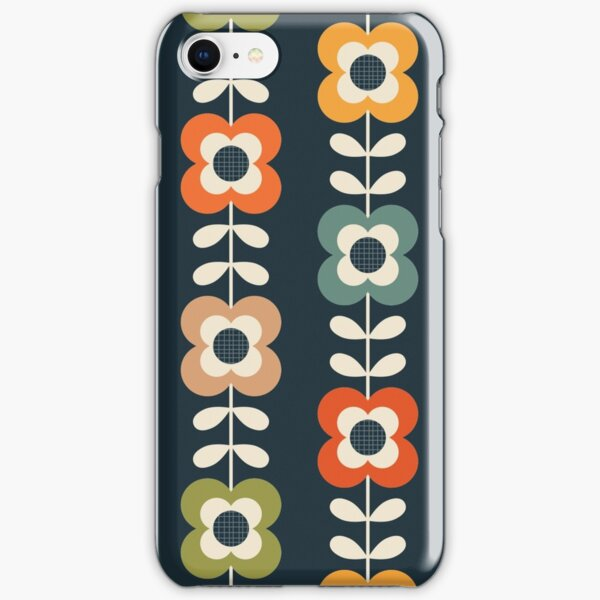 Mod Flowers in Retro Colors on Charcoal iPhone Snap Case