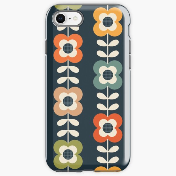 Mod Flowers in Retro Colors on Charcoal iPhone Tough Case