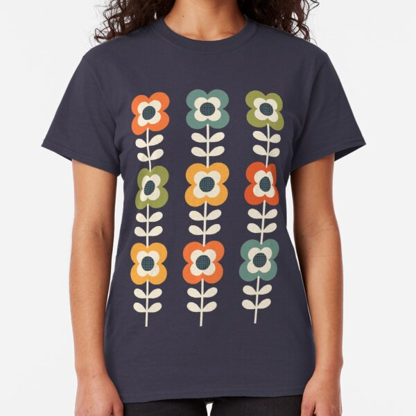 Mod Flowers in Retro Colors on Charcoal Classic T-Shirt