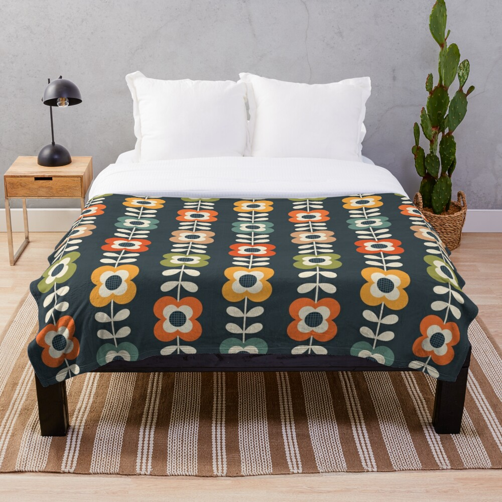 Mod Flowers in Retro Colors on Charcoal Throw Blanket
