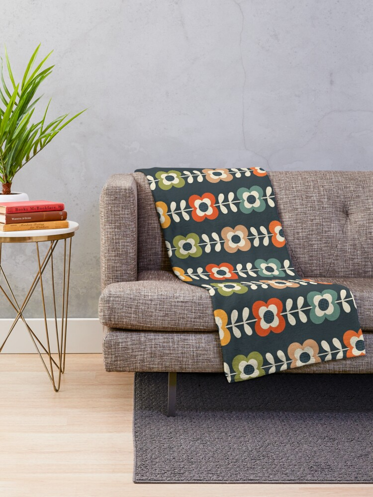 Alternate view of Mod Flowers in Retro Colors on Charcoal Throw Blanket