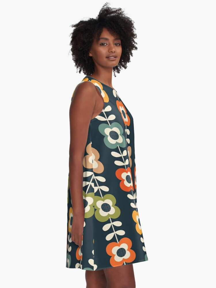 Alternate view of Mod Flowers in Retro Colors on Charcoal A-Line Dress