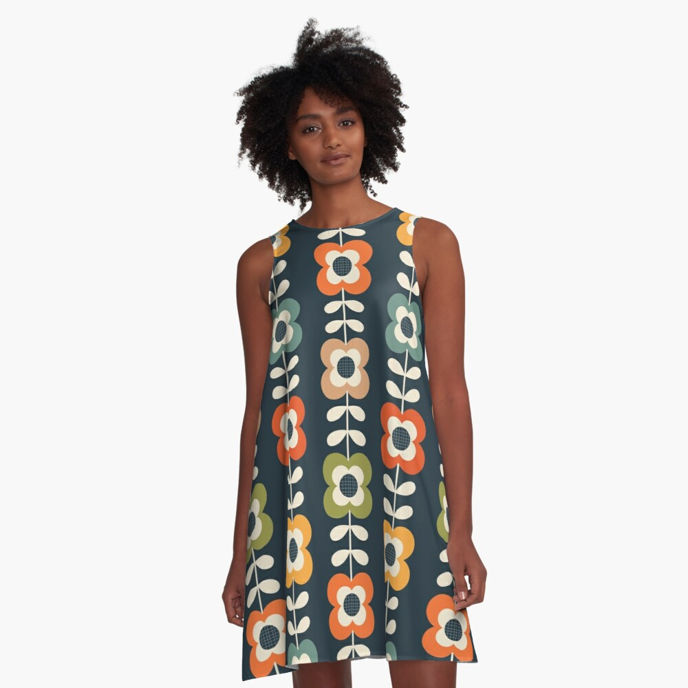 Mod Flowers in Retro Colors on Charcoal A-Line Dress