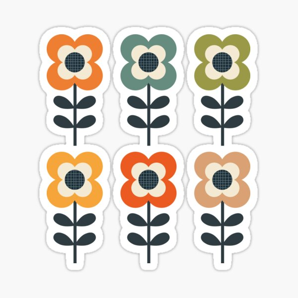 Mod Flowers in Retro Colors on Charcoal Sticker