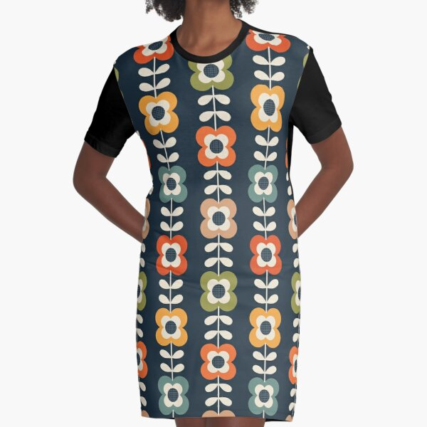Mod Flowers in Retro Colors on Charcoal Graphic T-Shirt Dress