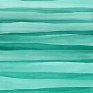 Cool Green Watercolor Lines Pattern by blueskywhimsy