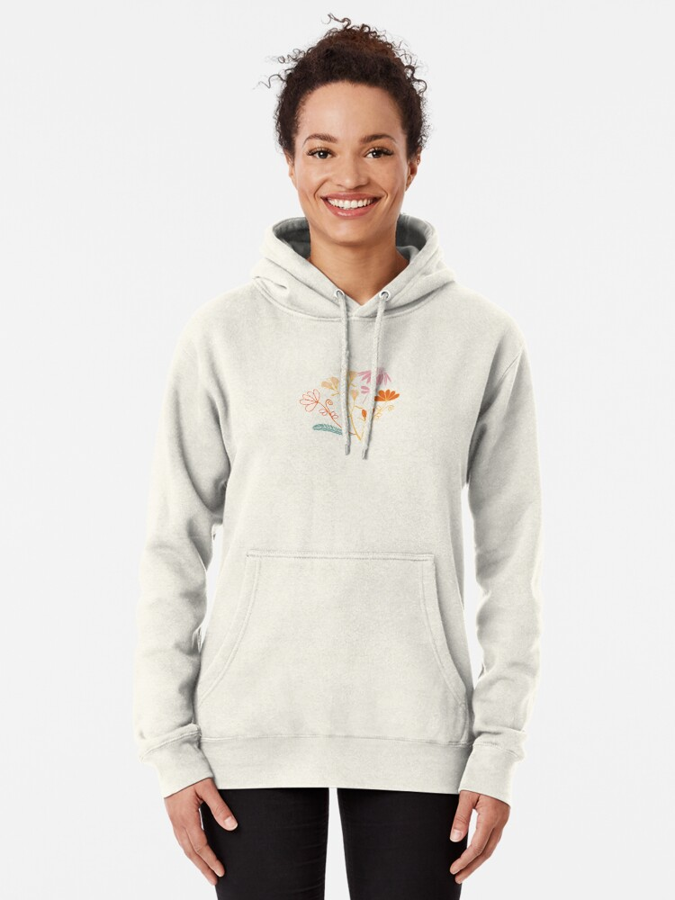 Alternate view of Glowy bosque forest floral pattern Pullover Hoodie
