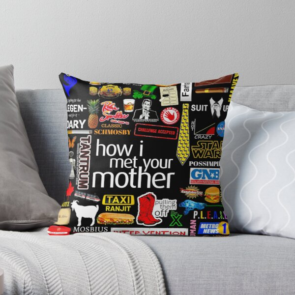 How i Met Your Mother Collage Poster Iconographic - Infographic Throw Pillow