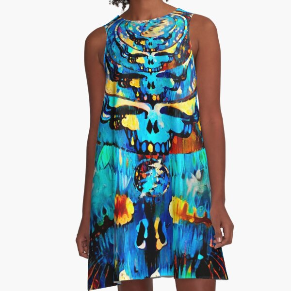 Dripping Indigo A-Line Dress