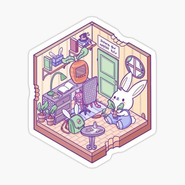 Kleines isometrisches Kaninchenloch Sticker